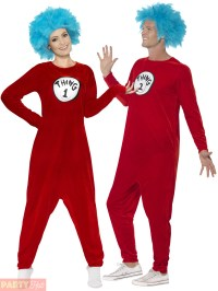 Adult Thing 1 or Thing 2 Costume Mens Ladies Dr Seuss ...