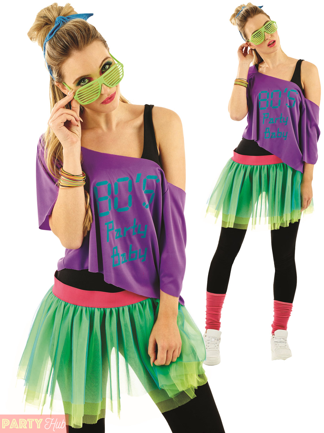 Outfit Disco Ladies 1980s Tutu Kit Adults Neon Disco Fancy Dress Womens
