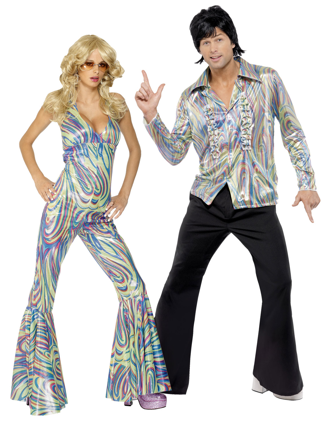 Outfit Disco Adults 1970s Retro Costume Mens Ladies Dancing Queen Fancy