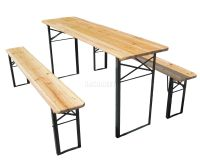 Outdoor Wooden Folding Beer Table Bench Set Trestle Garden ...