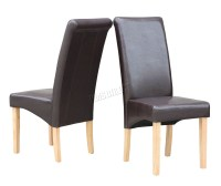 New Brown Faux Leather Dining Chairs Roll Top Scroll High