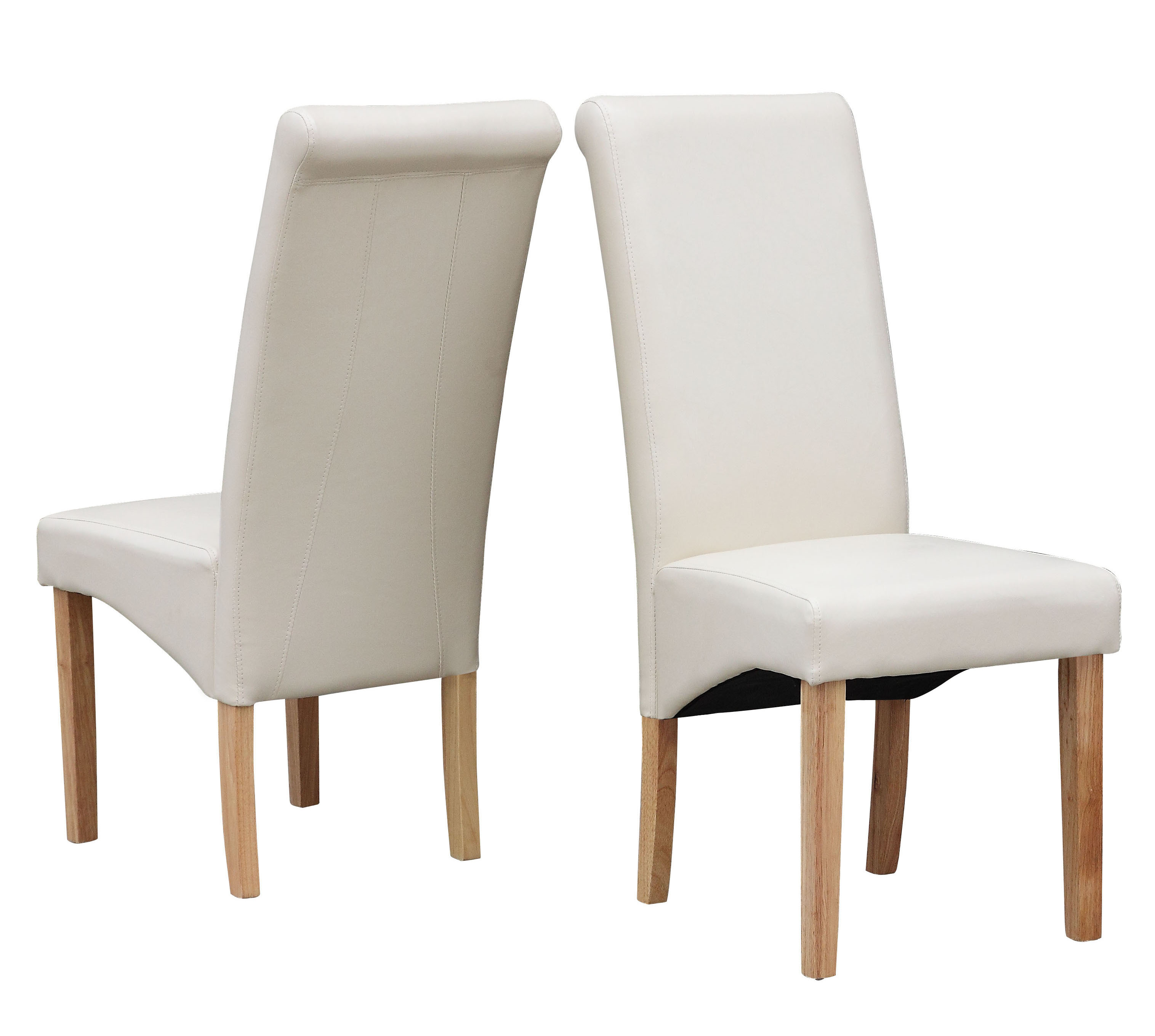 Cream Leather Dining Chairs Cream Modern Dining Room Chair Faux Leather Roll Top