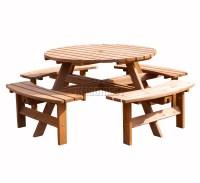 Garden Patio 8 Seater Wooden Pub Bench Round Picnic Table ...
