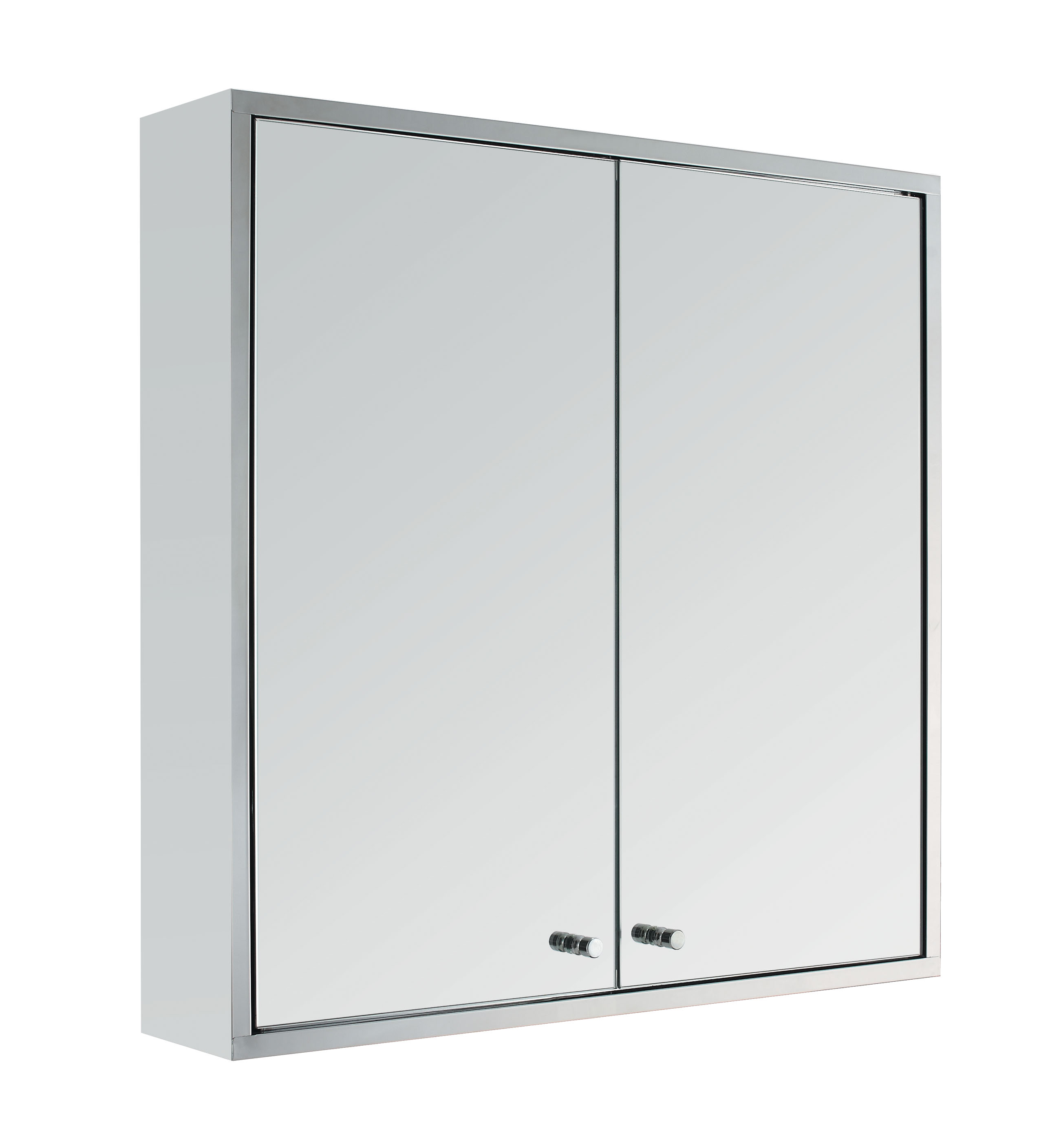 Mirrored Bathroom Cupboard Stainless Steel Double Door Wall Mount Bathroom Cabinet