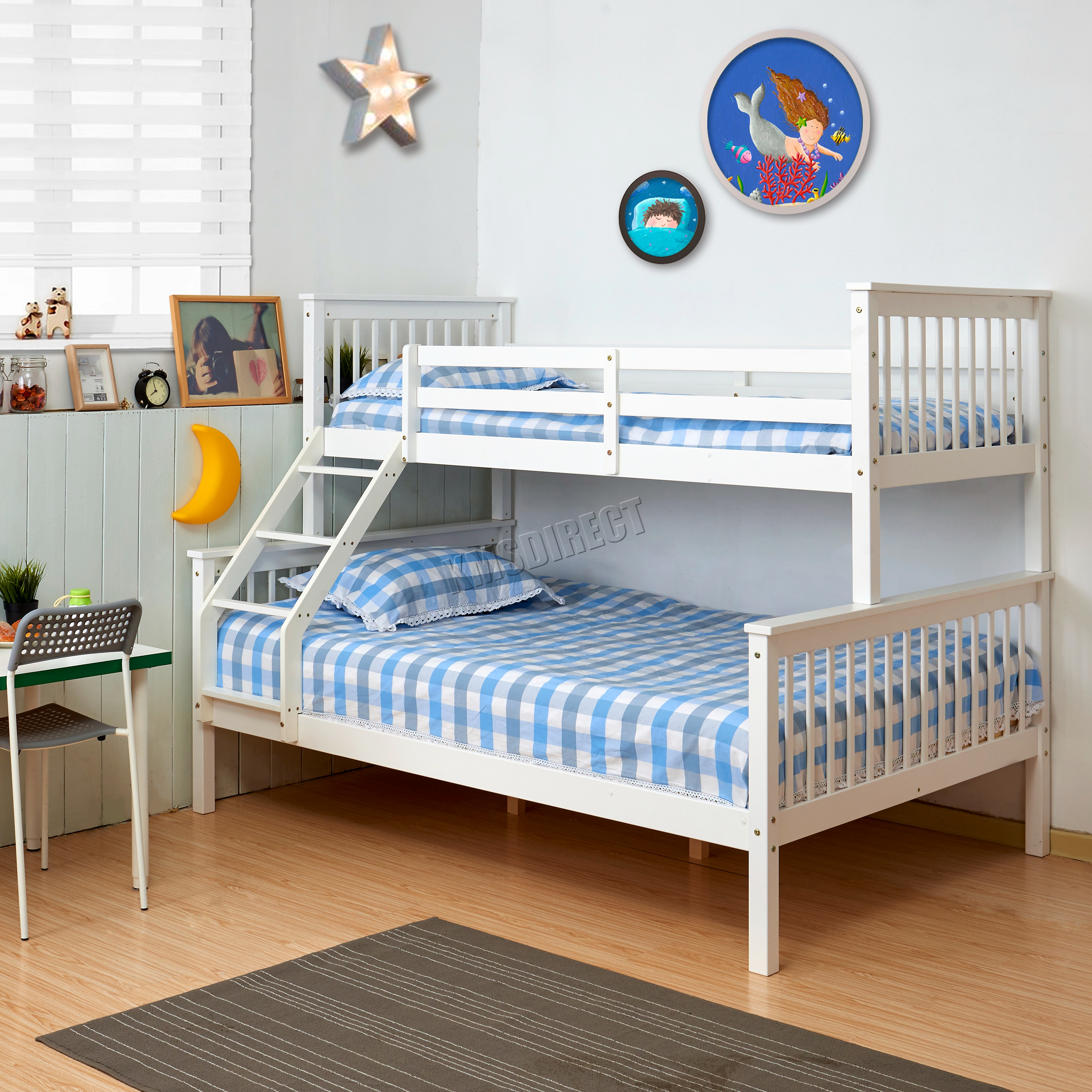 White Wooden Bunk Beds Foxhunter Bunk Bed Wooden Frame Children Kids Triple