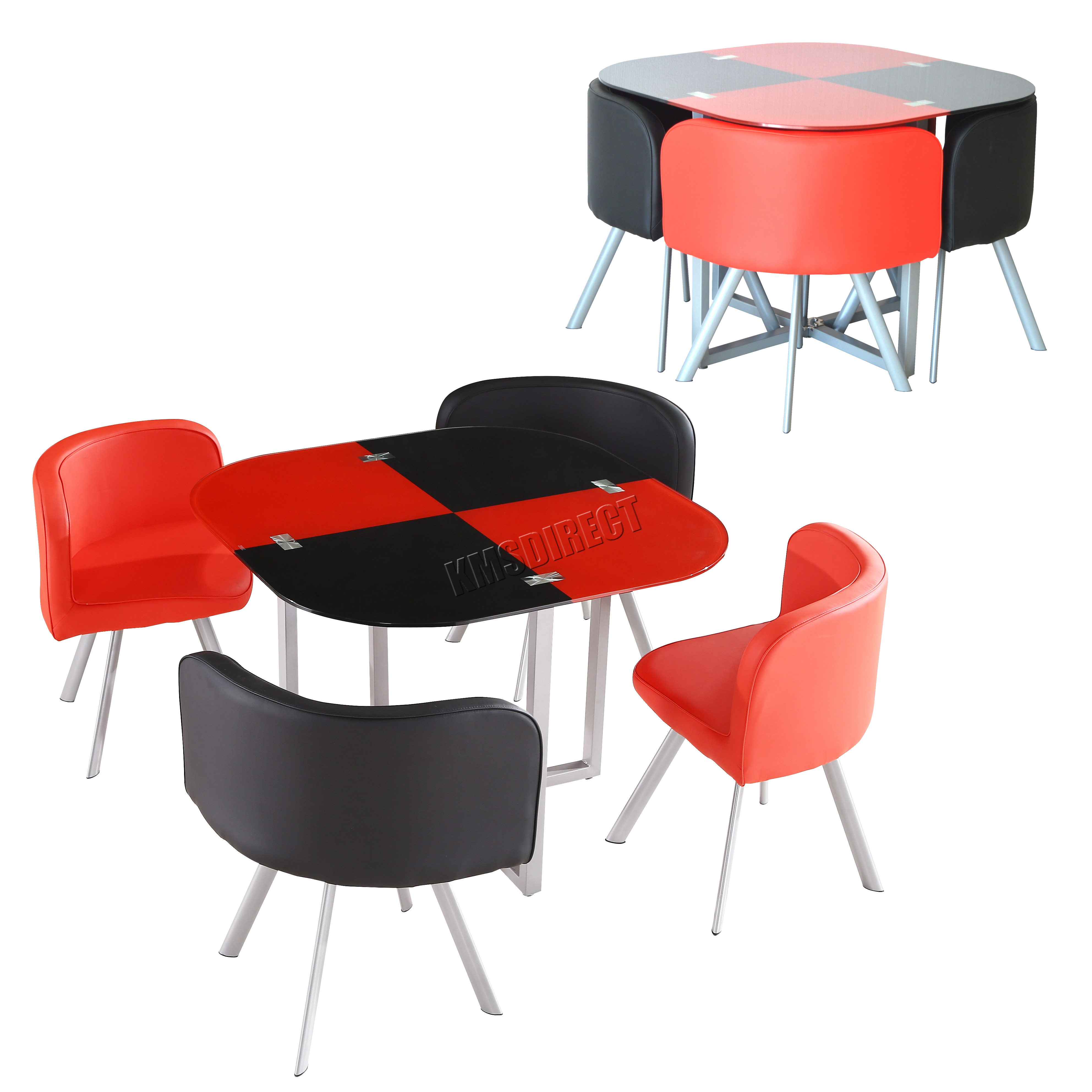 Black Dining Table And Chairs Foxhunter Glass Top Dining Table And 4 Faux Leather Chairs