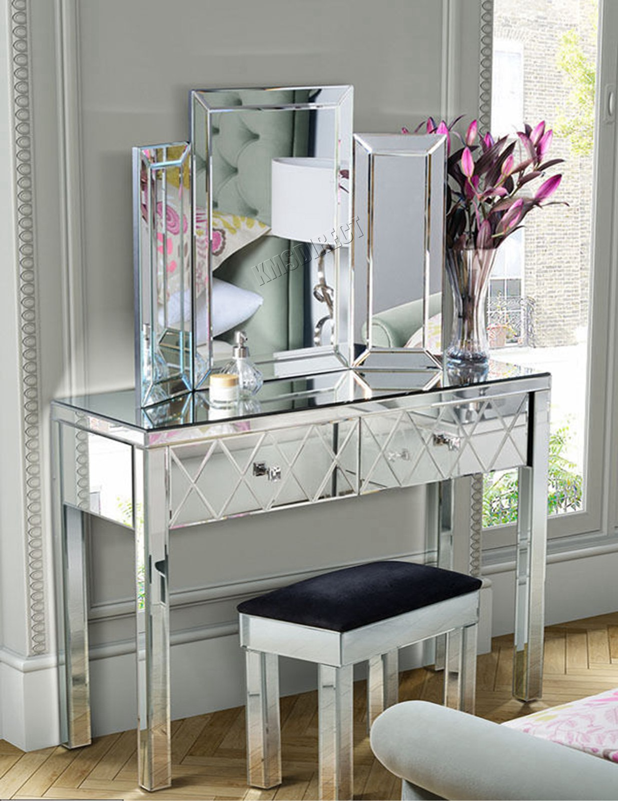 Tables Mirrored Furniture Glass Dressing Table Drawer Bedroom Console Bevelled Mirror Desmoinesfencecompany Com
