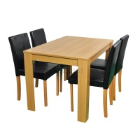 WestWood Wooden Dining Table and 4 Or 6 PU Faux Leather ...