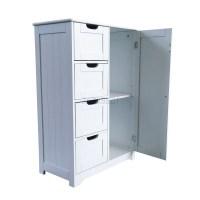 FoxHunter White Wooden 4 Drawer Bathroom Storage Cupboard ...