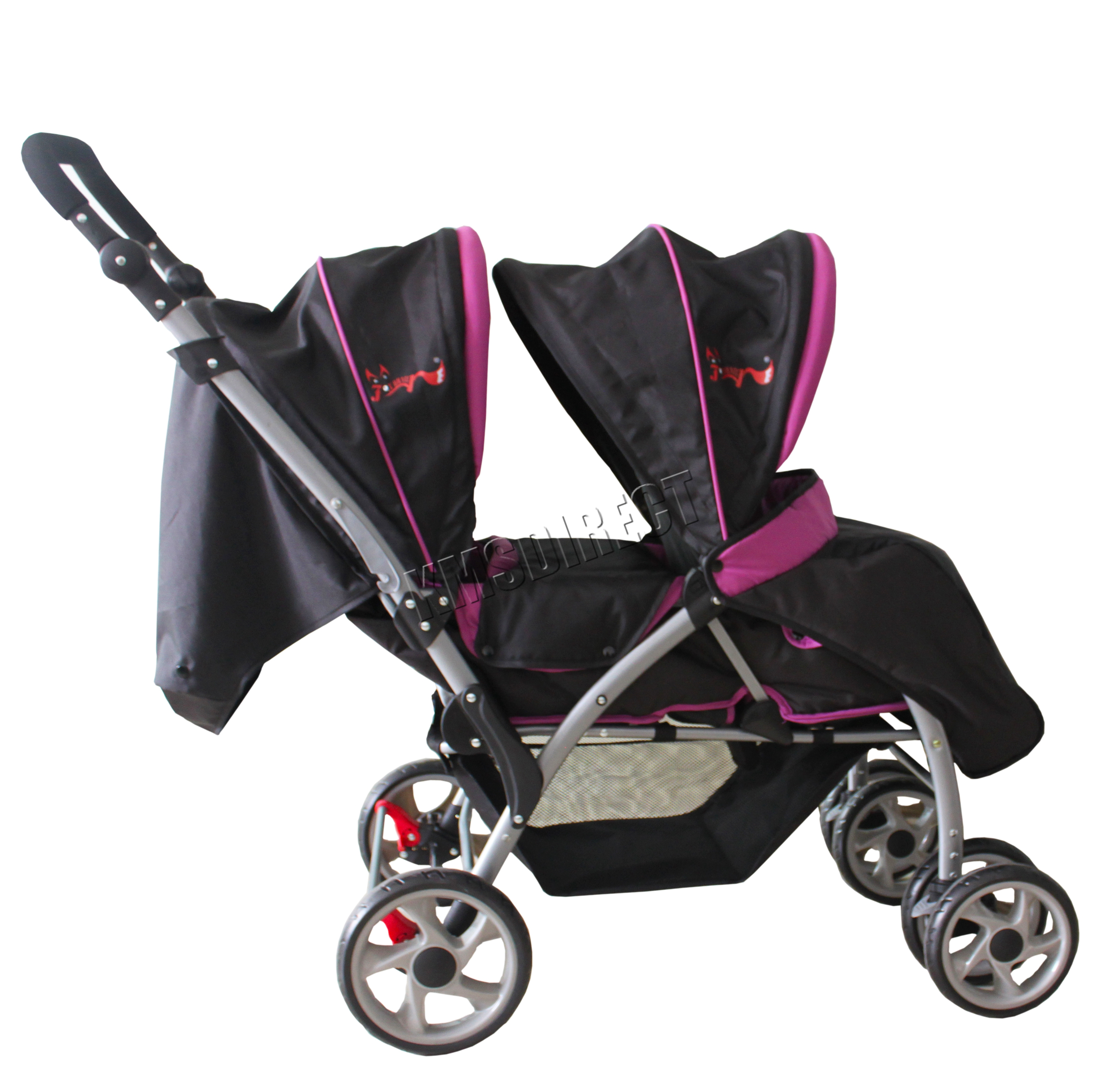 Double Buggy Pink Foxhunter Baby Toddler Tandem Double Stroller Twin