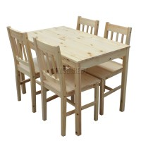FoxHunter Solid Wooden Dining Table With 4 Chairs Set ...