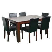 FoxHunter Wooden Dining Table and 6 PU Faux Leather Chairs ...