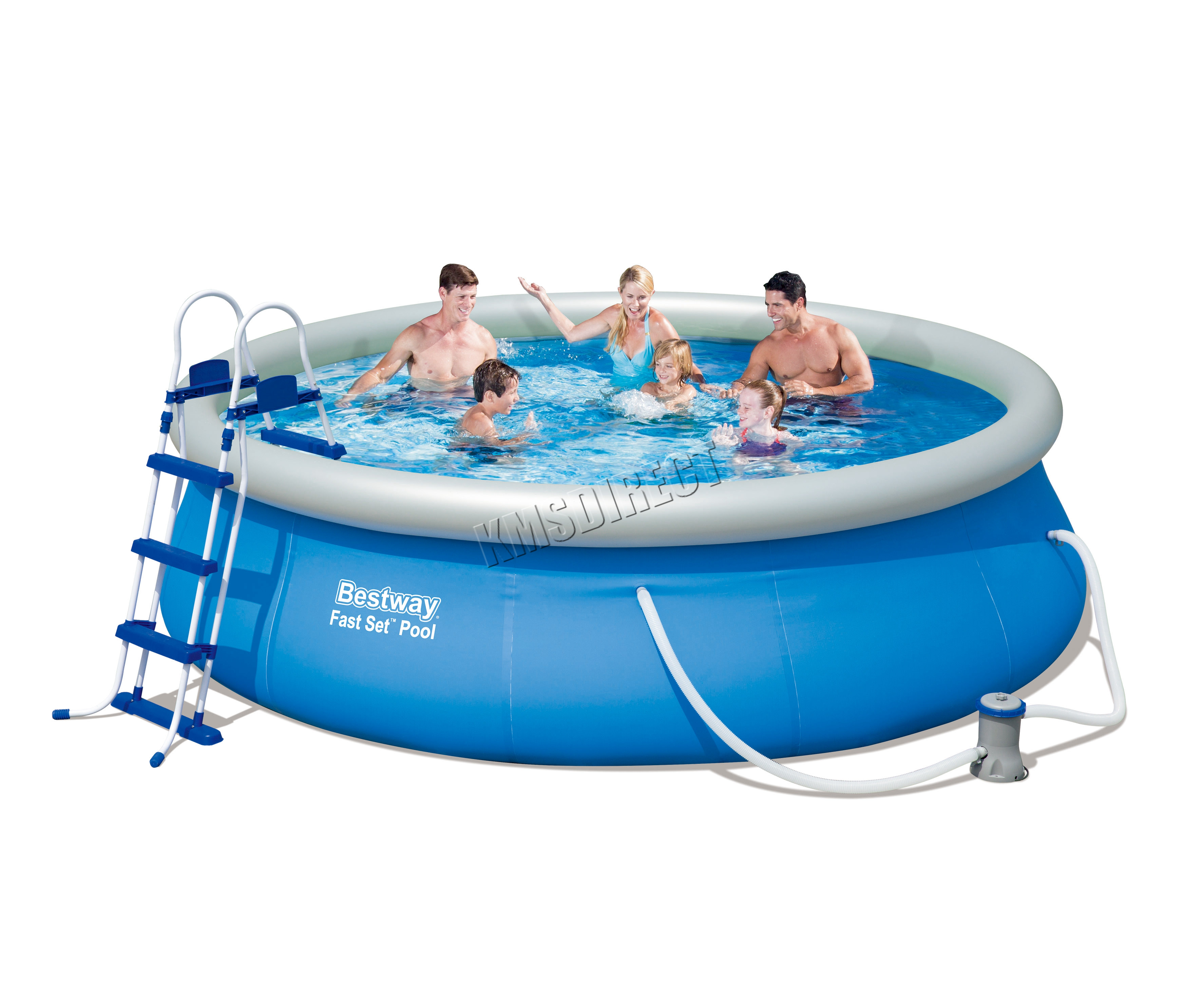 Pool Polyester Rund Bestway Fast Set Swimming Pool Round Inflatable 12ft X