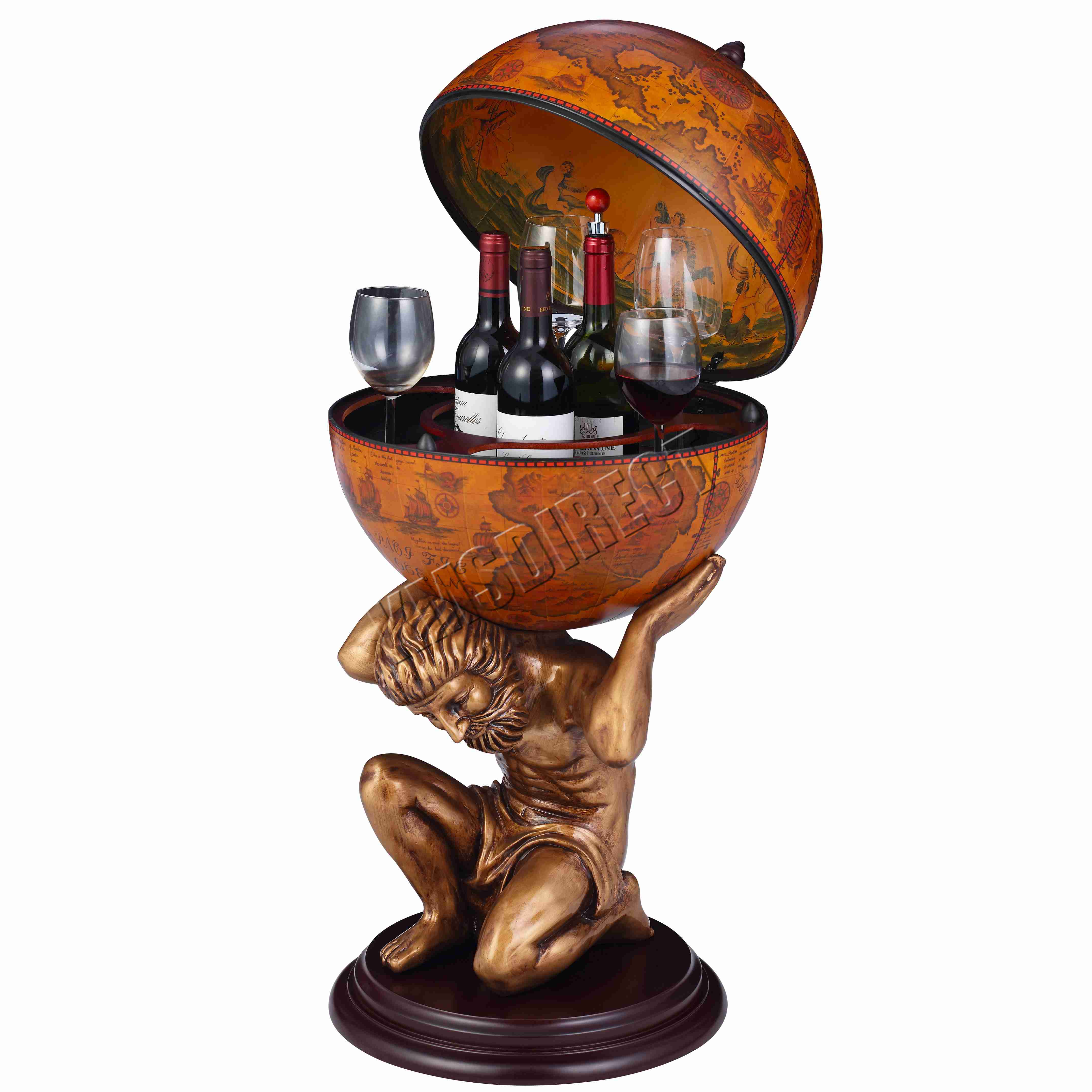 Foxhunter Vintage Globe Mini Bar Atlas Wine Drink Cabinet