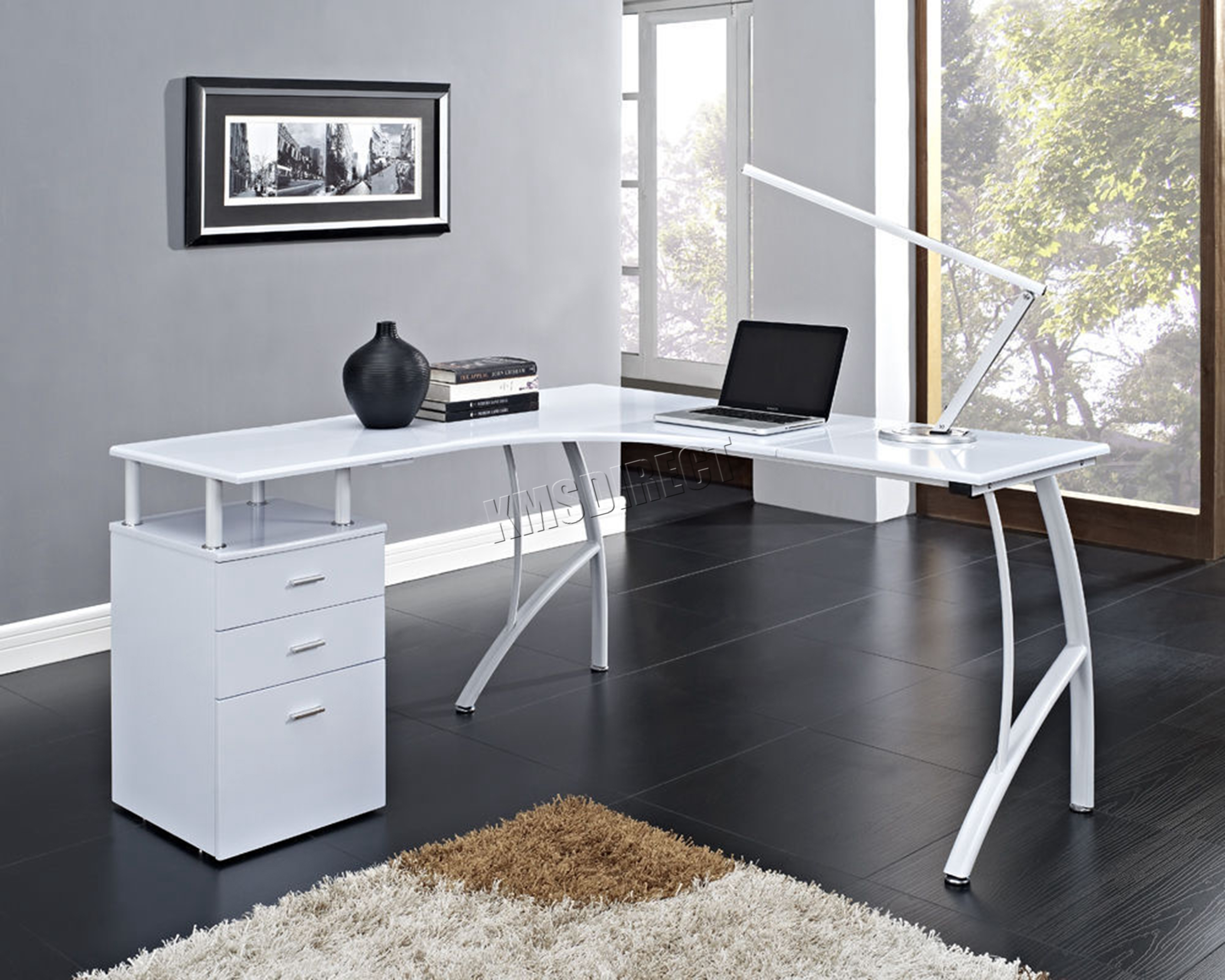 Home Office Table Desk Foxhunter L Shaped Corner Computer Desk Pc Table Home