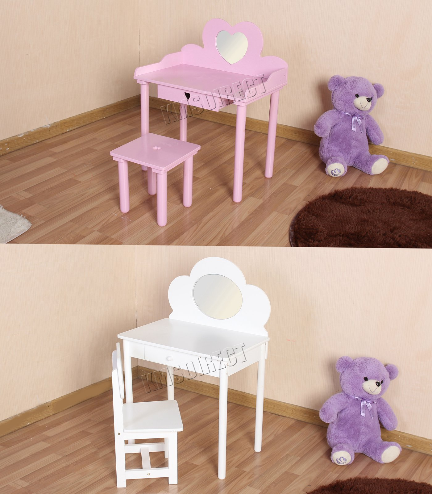 Girls Dressing Table Details About Foxhunter Children S Dressing Table With Mirror Girls Kids Makeup Table Chair