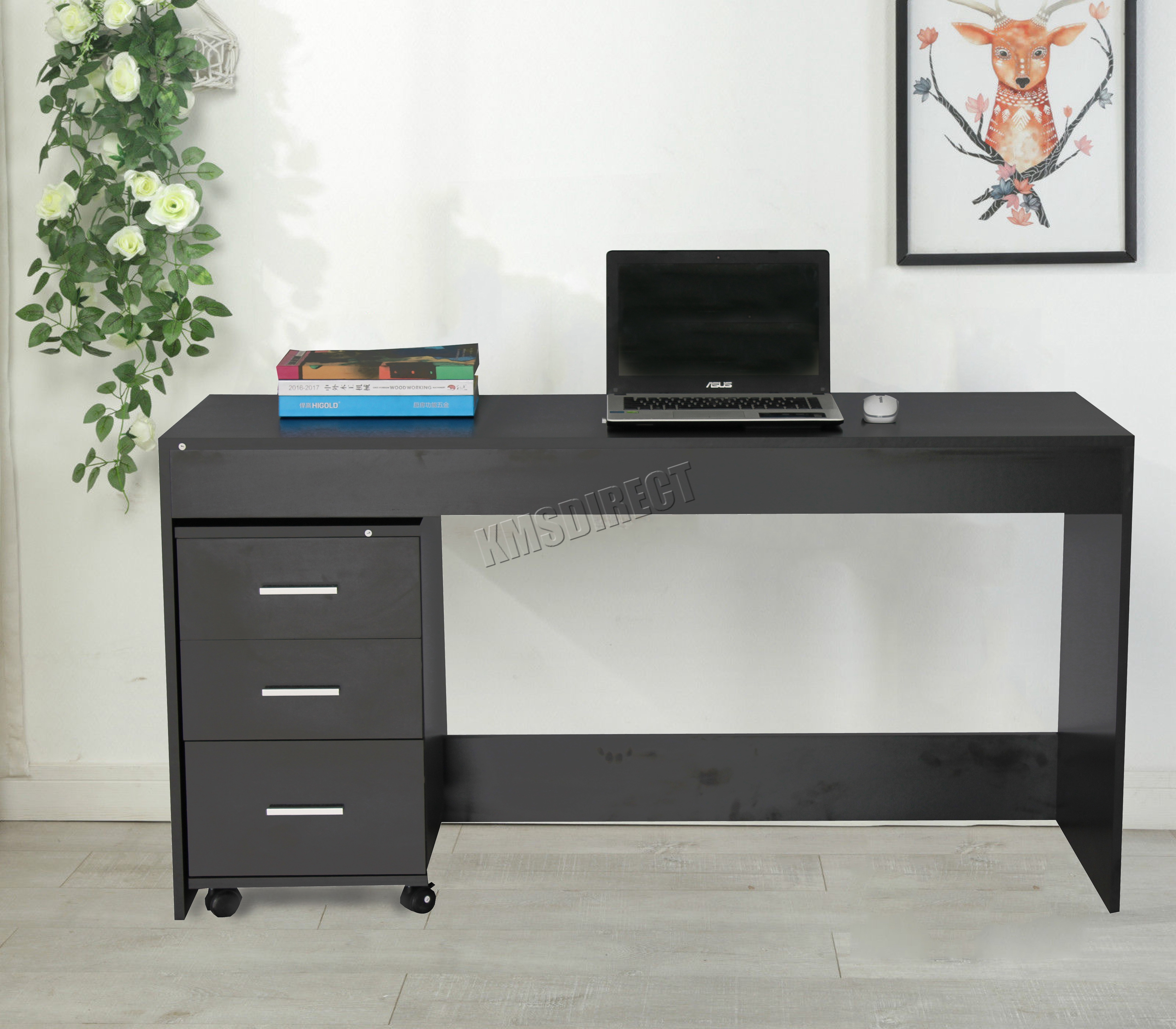 Table Pc Foxhunter Computer Desk Table With 3 Drawers Home Office