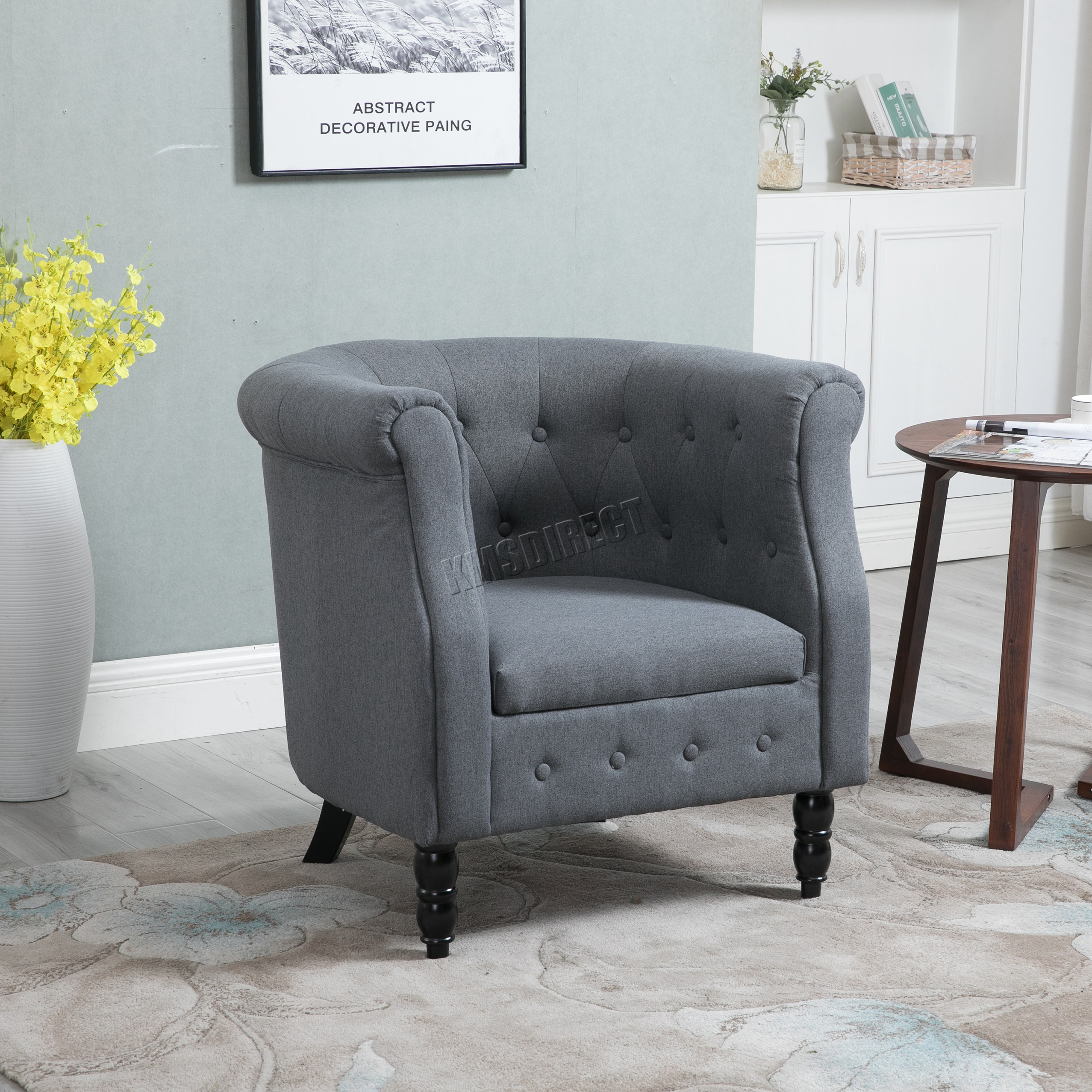 Cocktailsessel Vintage Westwood Vintage Linen Fabric Tub Chair Armchair Dining