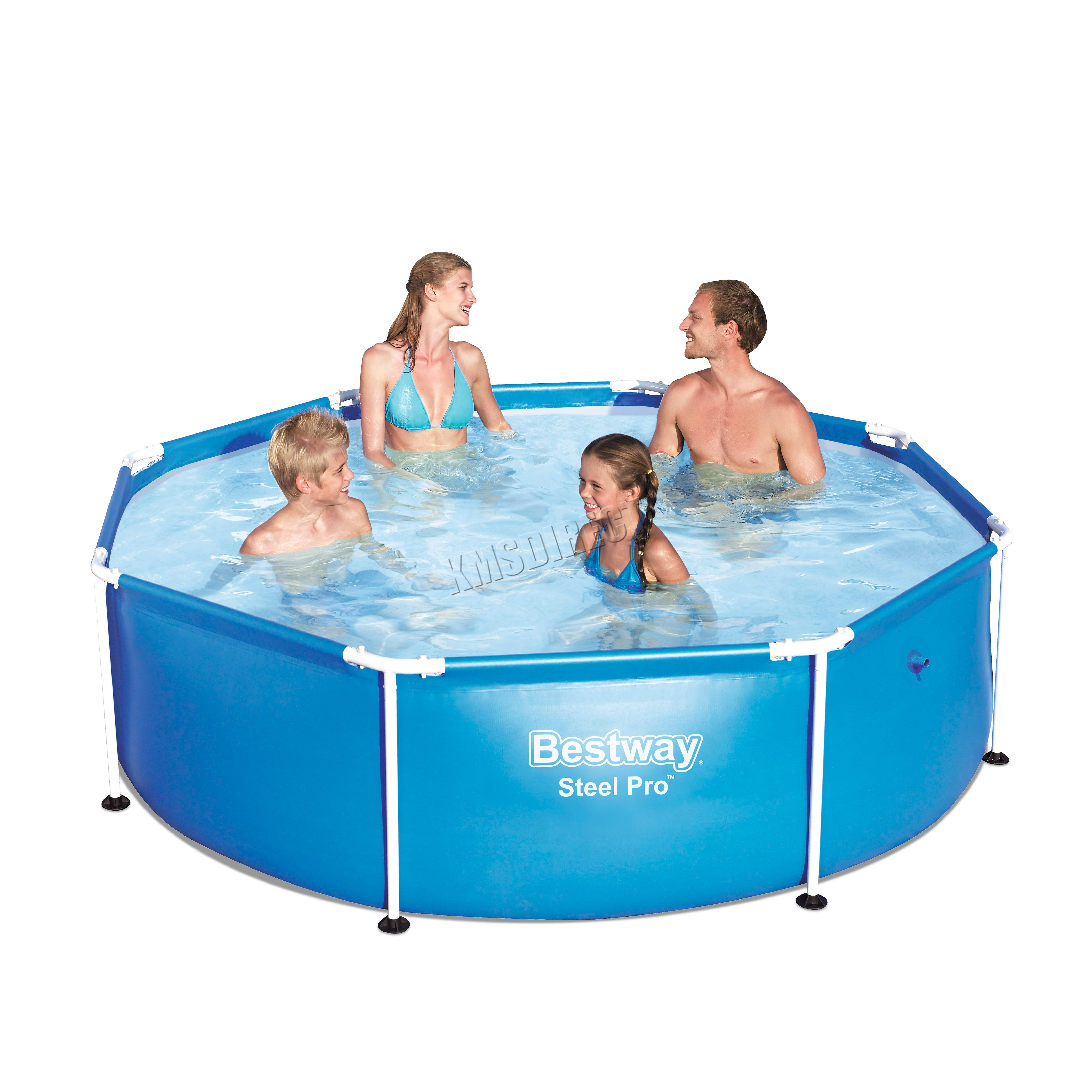 Pool Polyester Rund Bestway Family Swimming Paddling Steel Pro Frame Pool