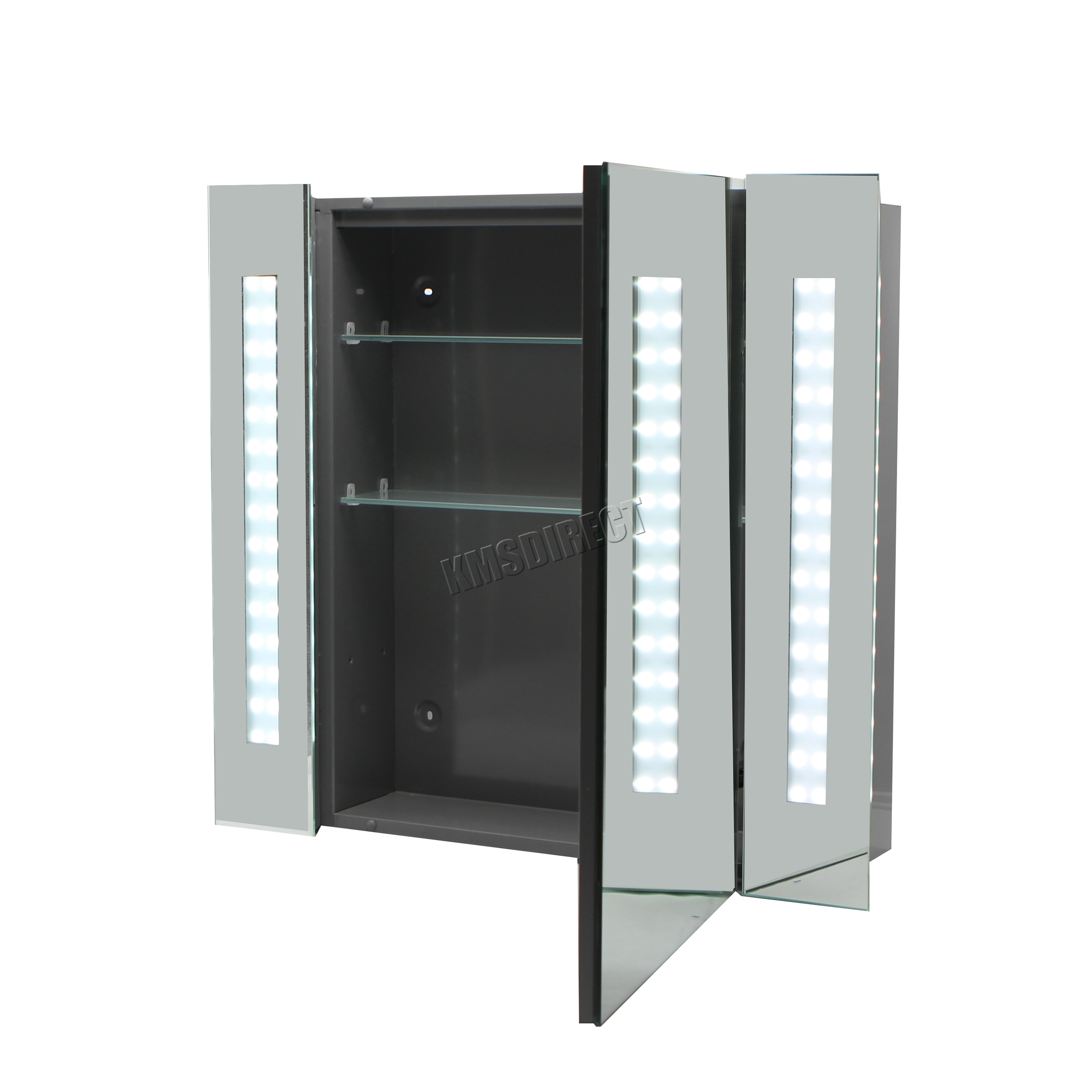 Mirror Bathroom Cabinets Uk Foxhunter Led Illuminated Mirror Bathroom Cabinet Steel