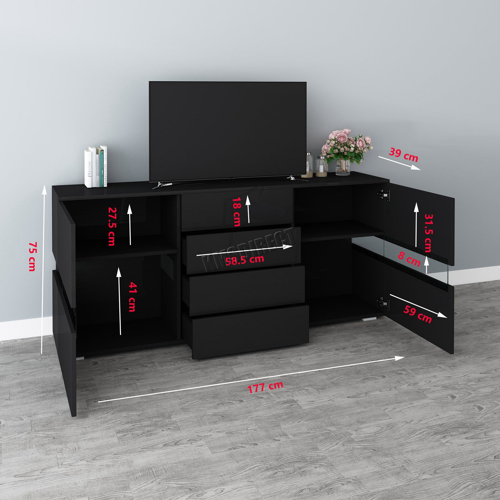 Tv Sideboard Modern Westwood High Gloss Sideboard Tv Cabinet Unit Stand Modern ...