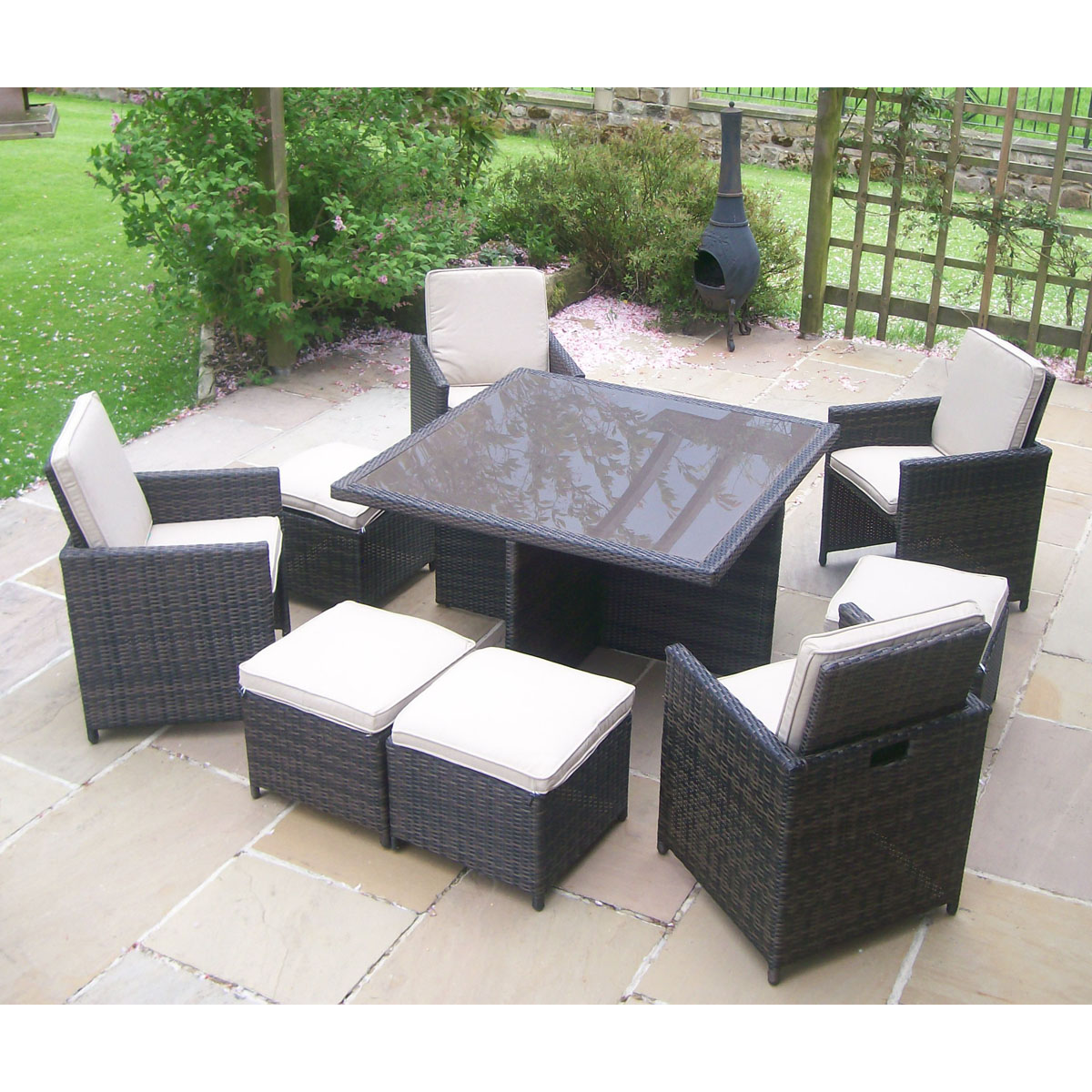 Rattan Wicker Garden Furniture Table 4 Chair Patio Set