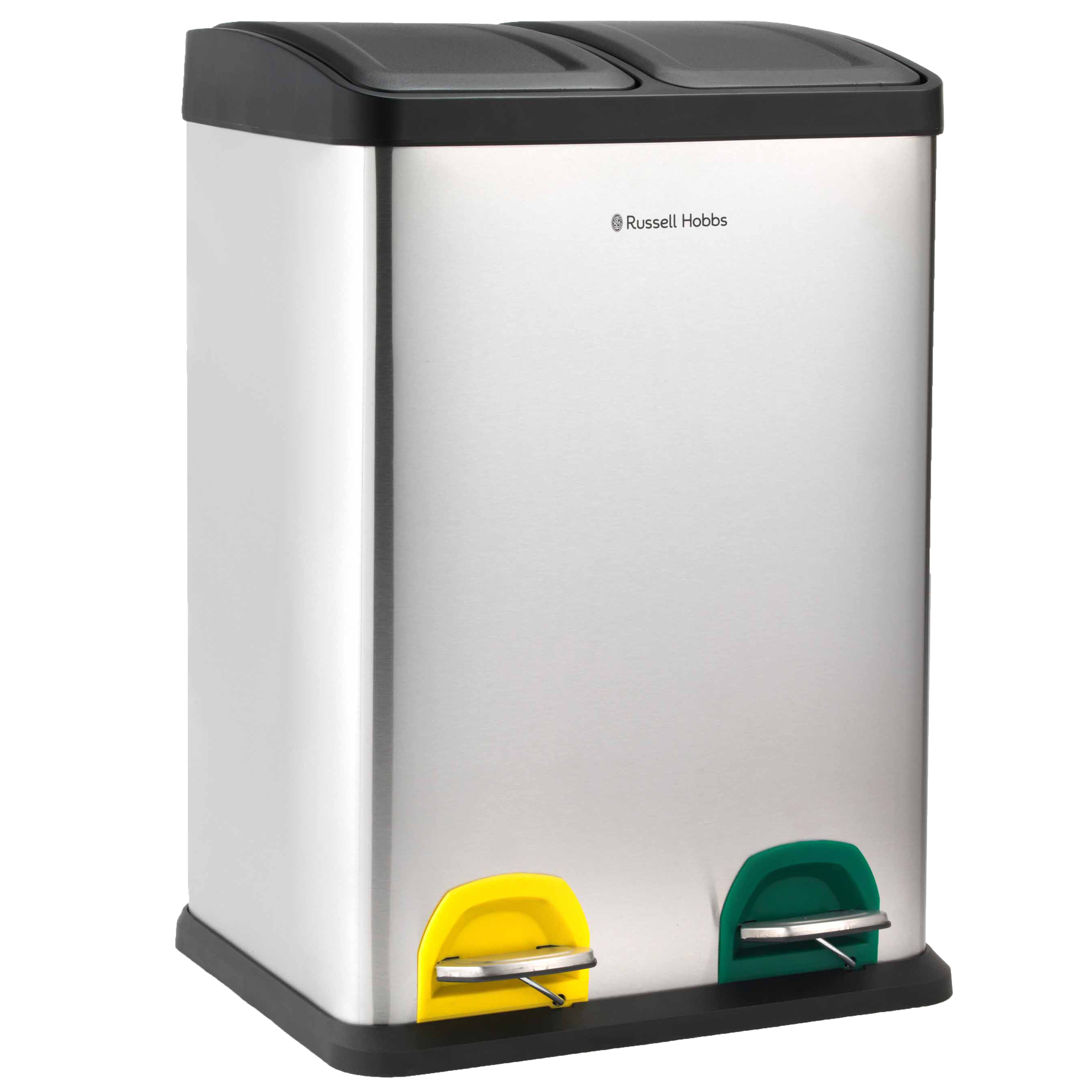 Kitchen Tidy Bins Russell Hobbs Rh00140 Kitchen Recycle Waste Separation Bin 2 Sections 40 Litre Stainless Steel