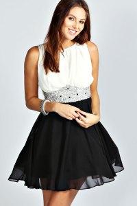 Boohoo Amy Flower Detail Contrast Prom Dress in Black | eBay