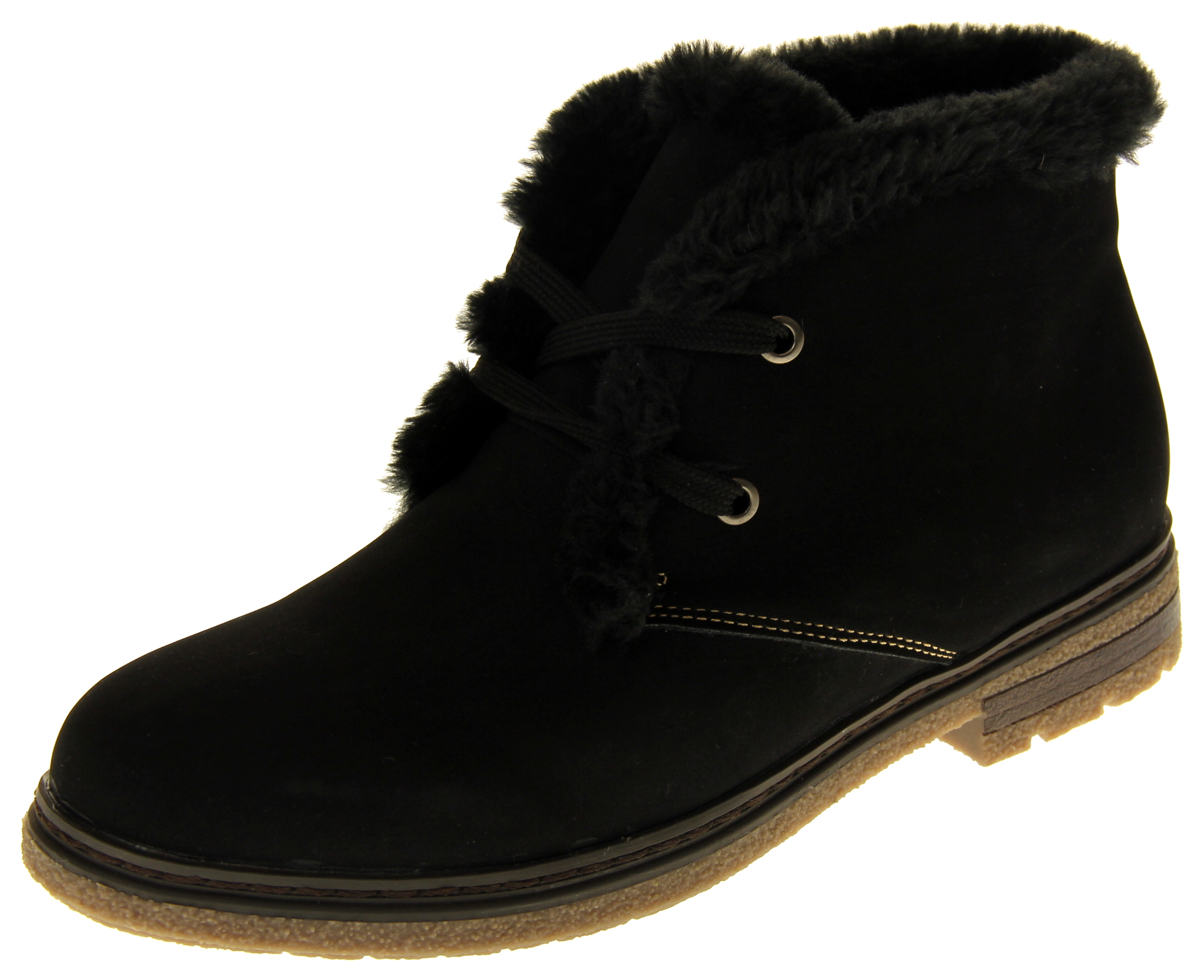 Womens Ladies Faux Nubuck Synthetic Fur Lined Lace Up