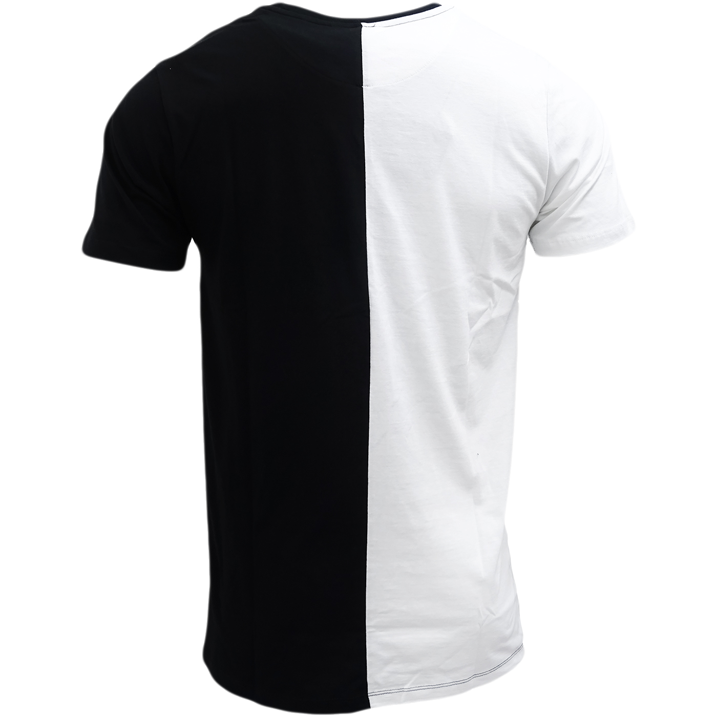 Split Wit Hype White Black Half White Half Black Split T Shirt