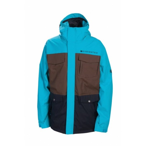 686 Smarty Command Insulated Mens Snowboard Ski Jacket Colorblock Turquoise 2013