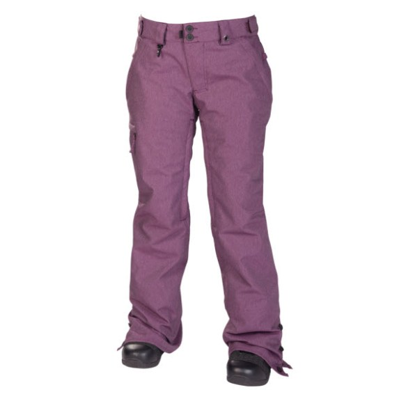 686 Reserved Mission Womens Snowboard Pants Plum Twill Denim Medium 2014 Used