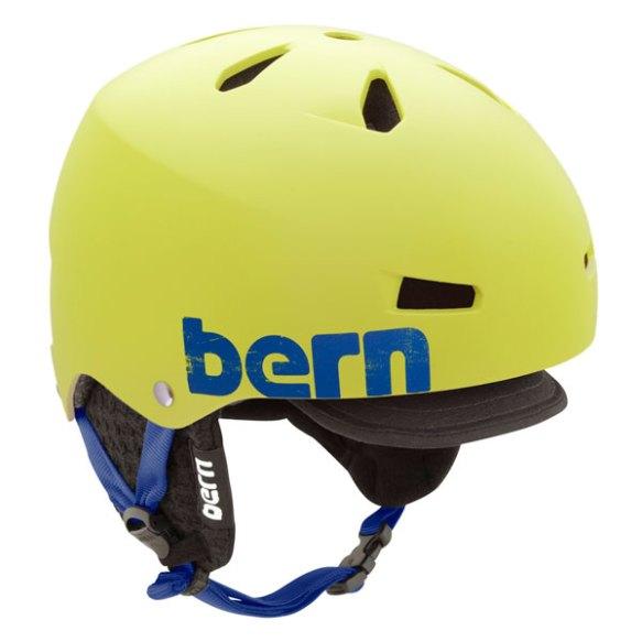 Bern Macon EPS Snowboard Helmet 2013 in Matte Neon Yellow w/ Black Flip Visor