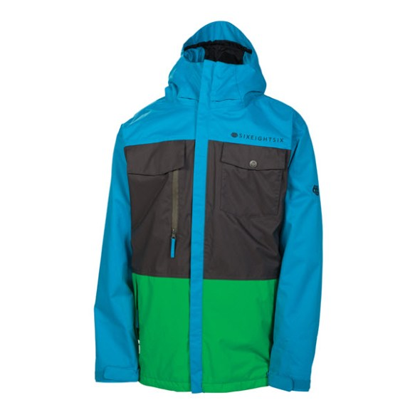686 Smarty Command Mens Snowboard Jacket Bluebird Colorblock 2014