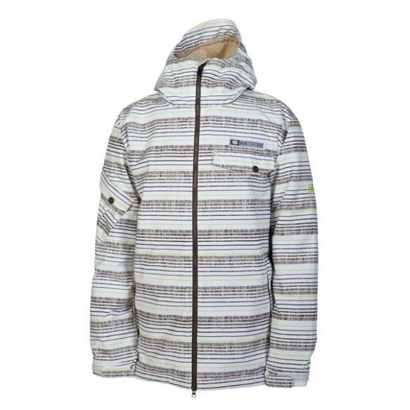 686 Mannual Etch Mens Snowboard Jacket White Stripe 2014