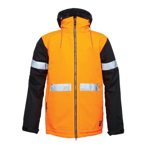 686 Dickies Rescue Snowboard Jacket Safety Orange Colorblock Large Sample 2015