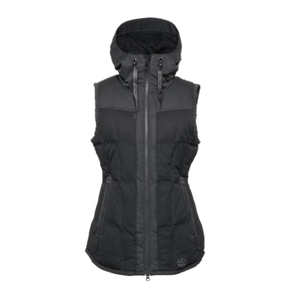 686 Authentic Hillside Vest Womens Snowboard Gillet Black Herringbone dobby Medium Sample 2015