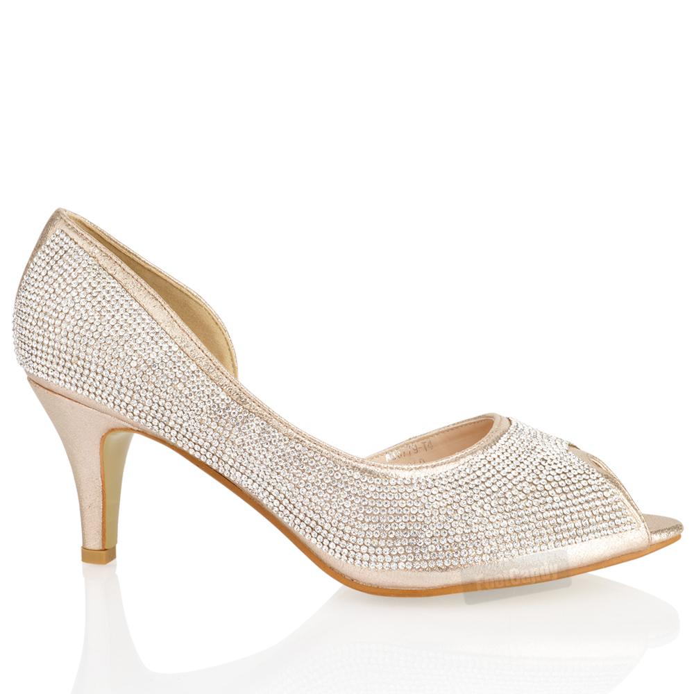low heel wedding shoes WOMENS LADIES LOW KITTEN HEEL GLITTER DIAMANTE PEEP