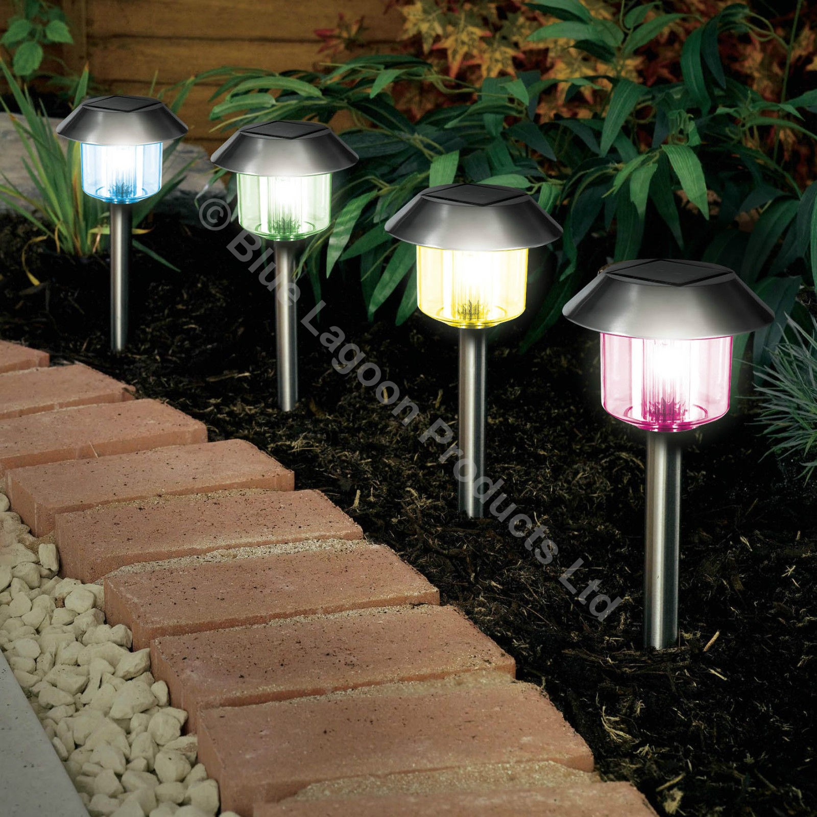 Solar Lights Outdoor 12 X Colour Changing Solar Power Light Led Post Outdoor