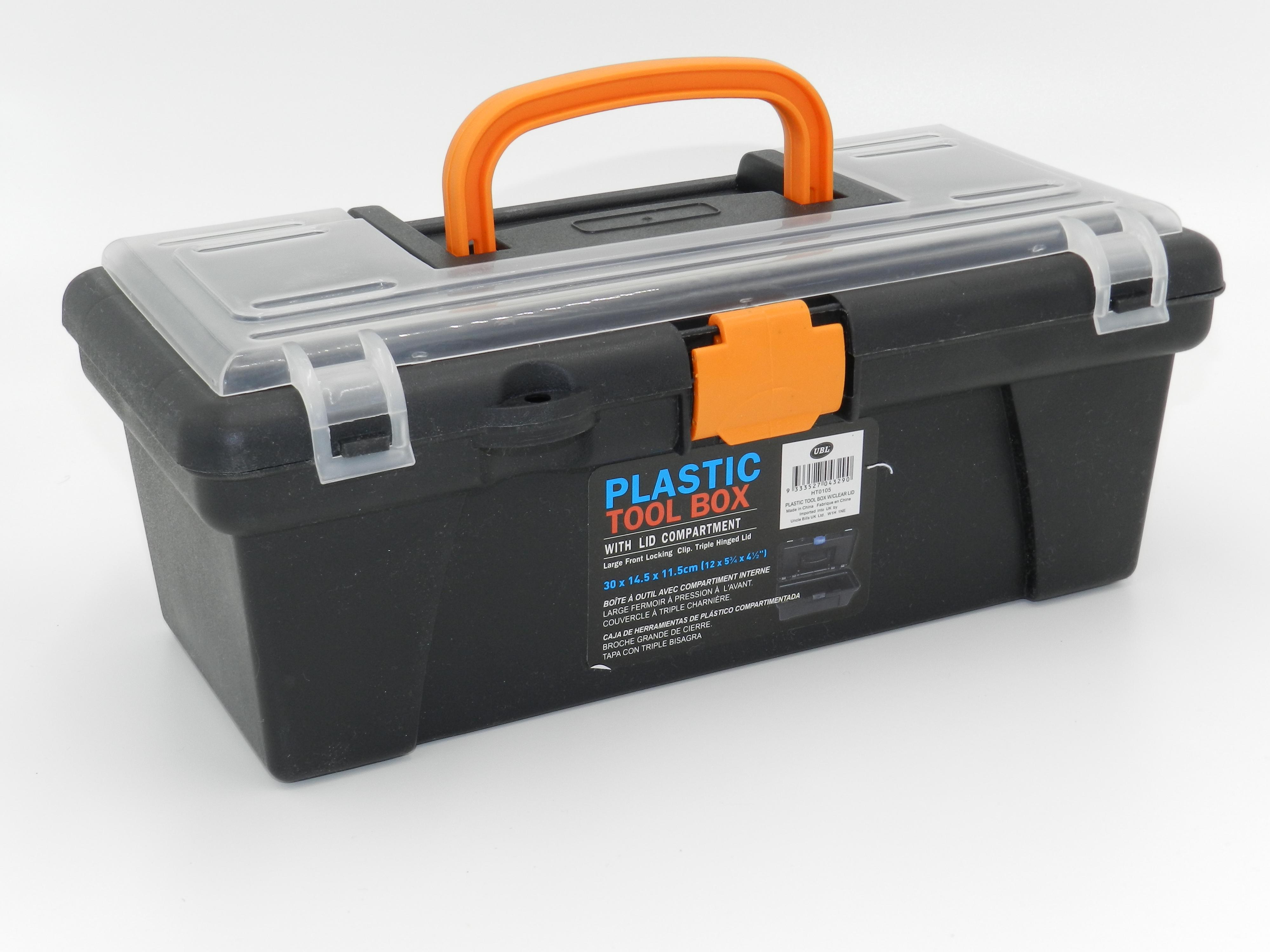 12quot Plastic Tool Box Handle Clear Lid Multi Storage