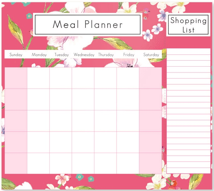 Floral Weekly Magnetic Fridge Meal Diet Planner Shopping List Chart