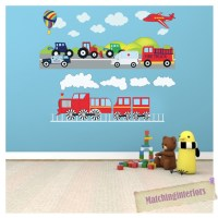 Childrens Transport Vehicles Cars Wall Stickers Decals ...