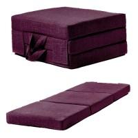 Purple Linen Effect Single Chair Bed Folding Futon Fold ...