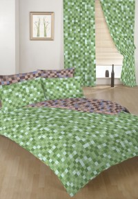 Green & Brown Pixels Double Bed Size Duvet Cover Set & 2 ...