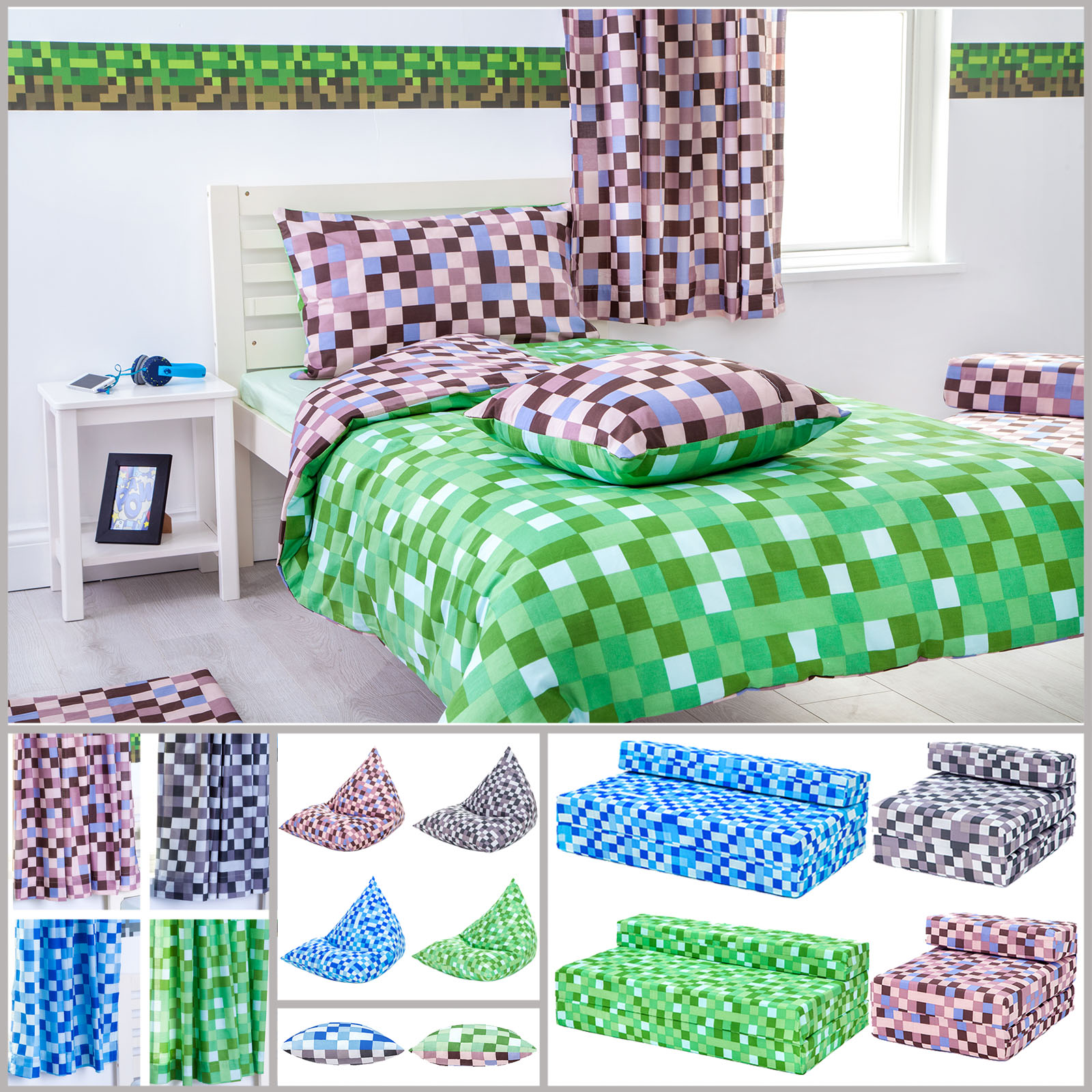 Minecraft Bettwäsche Minecraft Curtains Bedding And