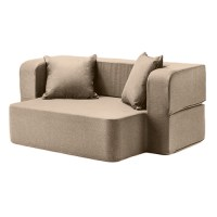Latte Wool Feel Poppy Easy Fold Out Flip Sofa Bed Foam ...