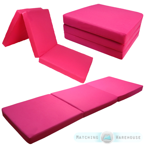 Pink Bed Comfort 3 Piece Guest Mattress Fold Out Foam Cube