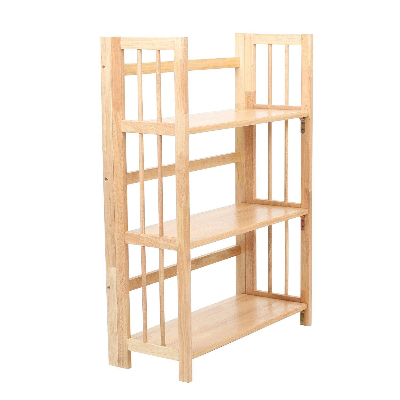 Three Tier Tropical Havea Wood Rubberwood Folding Shelf