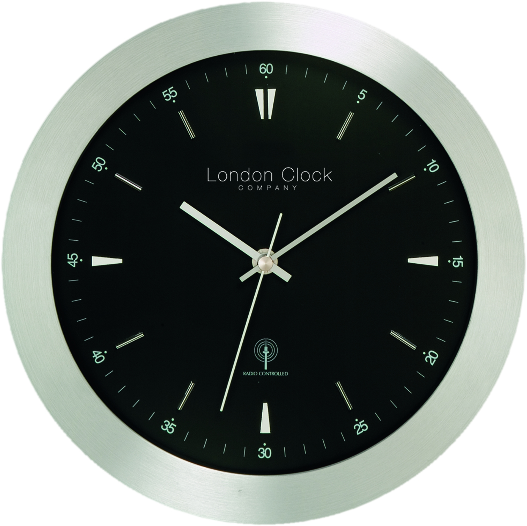 Black Modern Wall Clock London Clock Company Radio Controlled Contemporary Black