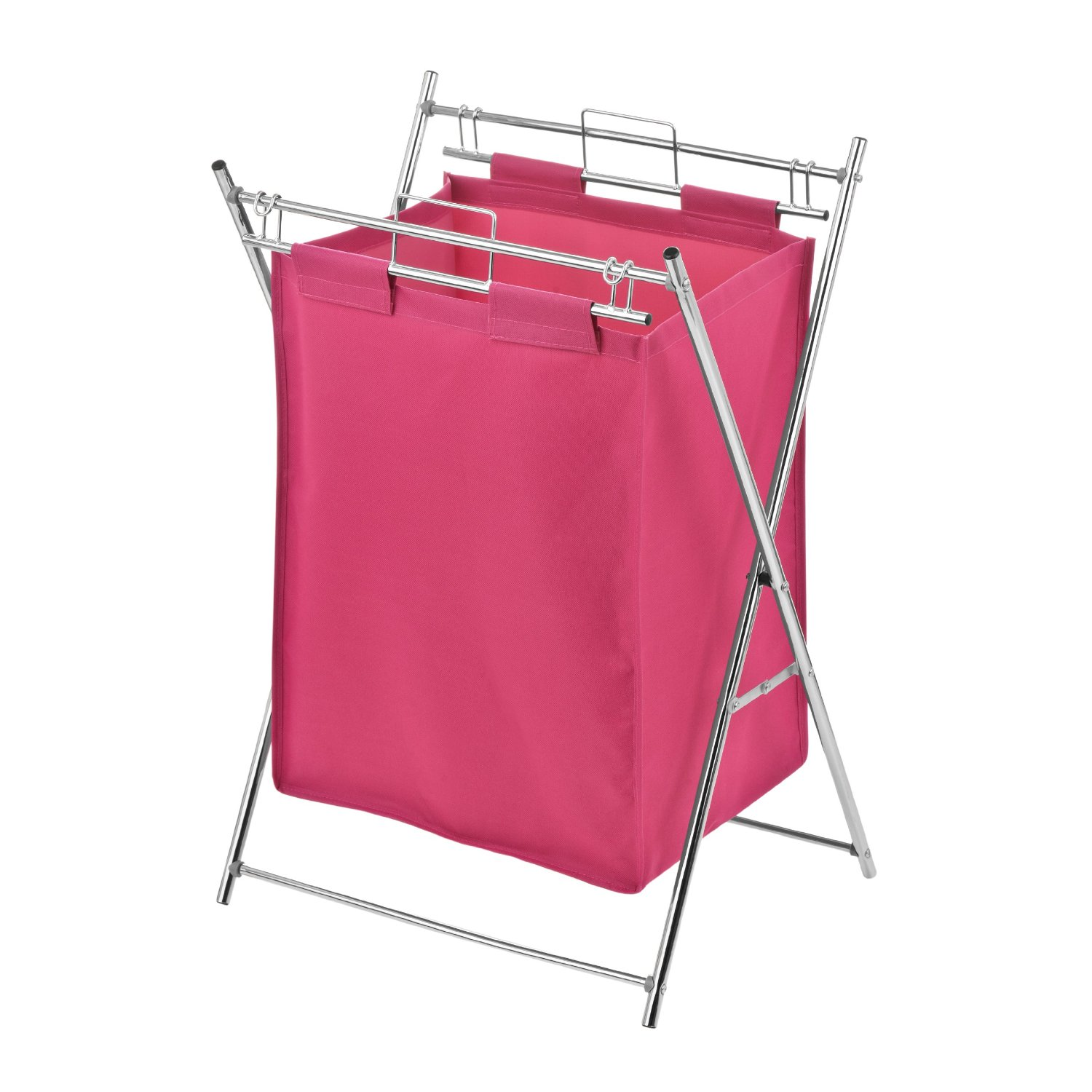 Chrome Laundry Basket Premier Hot Pink Polyester Bedroom Dirty Clothes Laundry